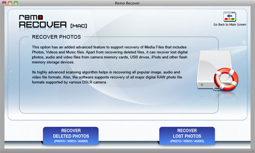 Find Lost Photos on Mac - Select Recover Lost Photos